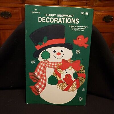 $ CDN9.87 • Buy Vintage New Hallmark  Happy Snowman  16 Press-out Christmas Decorations