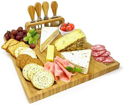 £21.95 • Buy Large Wooden Solid Cheese Board Set Includes 4 Cheese Knives Cutting & Serving