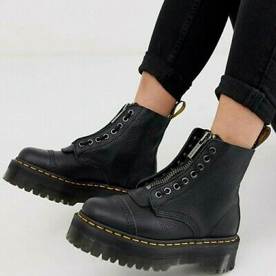 £200 • Buy Doc Martens Sinclair Flatform Zip Leather Boots In Tumbled Black Size UK 8
