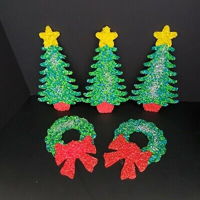 $ CDN51.30 • Buy Lot Of 5 Vintage Christmas Melted Plastic Popcorn 11  Trees And 8 1/2  Wreaths
