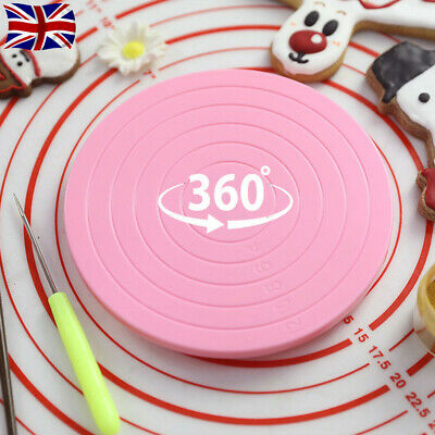 360° Rotating Cake Decorating Revolving Turntable Cake Stand Baking Plate 14cm • 5.95£