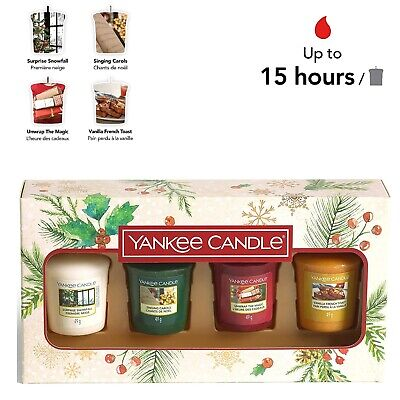 Yankee Candle Gift Set 4 Christmas Scented Votive Candles Magical Christmas • 16.97£