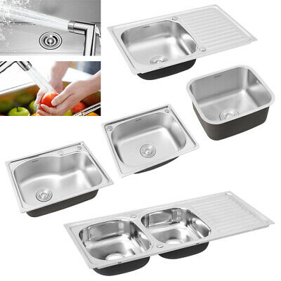 Stainless Steel Kitchen Sink Commercial Catering Single Double Bowl Drainer Kit • 33.95£