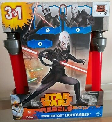 Star Wars Rebels Inquisitor Double Blade Lightsaber 3 In 1 Toy ◇ Hasbro 2014 Red • 49.99£