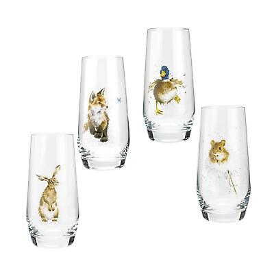 £32 • Buy Royal Worcester Wrendale Designs Country Animals Hi-Ball Glasses Set Of 4