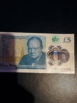 Aa02 New Five Pound Note Low Serial Number  Polymer Note Aa01 025788 • 200£