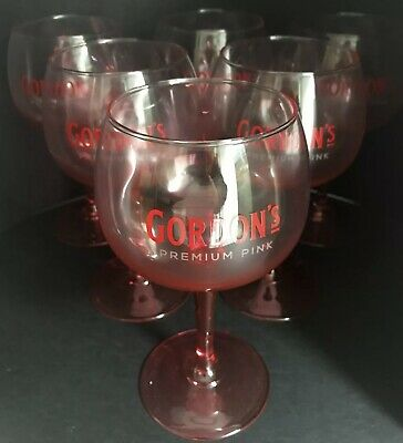 6 Pk - GORDONS Pink Stemmed Gin Balloon Glasses - FREE UK P&P - Xmas Gift • 24.95£
