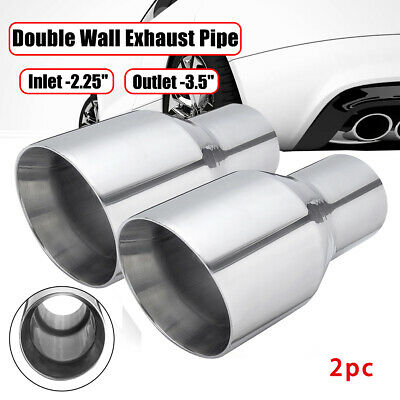 AU48.49 • Buy Universal 2.25'' Inlet 3.5'' Outlet Exhaust Tip Pipe Double Wall Slant Stainless