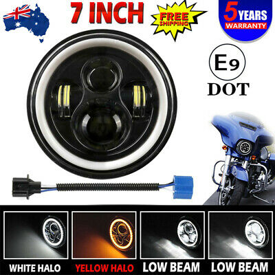 AU49.99 • Buy DOT 7  Inch Motorcycle Headlight Round LED Projector DRL For Harley Cafe Racer