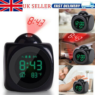 Digital Projection Alarm Clock With LCD Display Voice Talking LED Projector UK • 7.98£