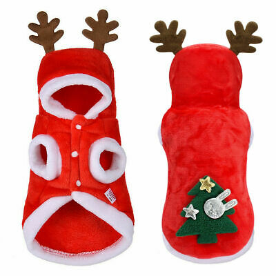 Cat Dog Christmas Outfit Costumes Reindeer Hoodie Jacket Pet Xmas Clothes Coat • 4.99£