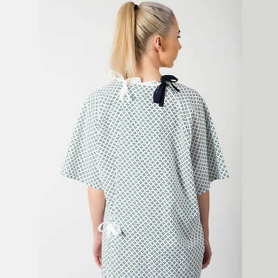 Lapover Hospital Patient Gown Blue Diamond Polycotton Fabric As Used By NHS • 19£