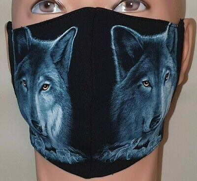 £4 • Buy Printed Face Mask 100% Cotton Washable Double Layer/Blue Wolf/ Wolf Pack/ Animal