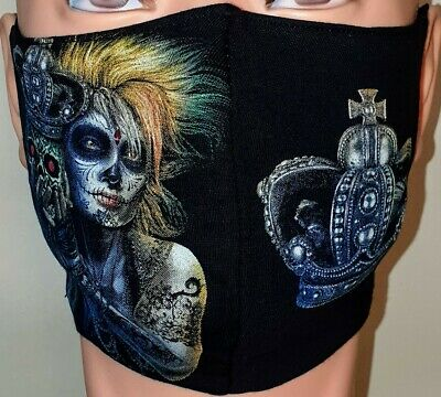 £4 • Buy Printed Face Mask 100% Cotton Washable Double Layer/ Gothic Girl/ Crown/ Skull