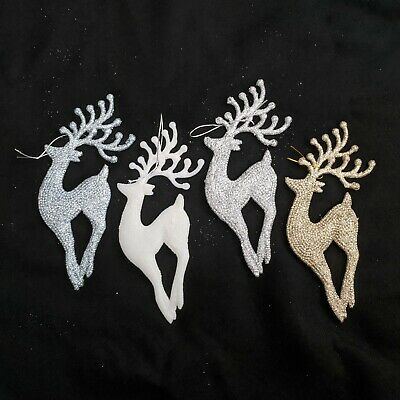 £8.95 • Buy X6 17cm Glittery Shiny Hanging Reindeers Baubles Christmas Tree Decoration