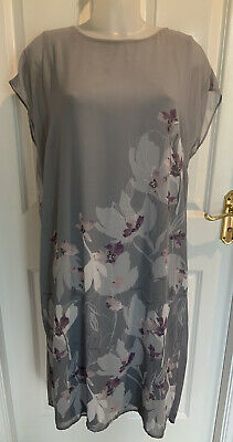 Beautiful Grey Floral Layered Sheer Dress JOHN ROCHA Size 16 Excellent Condition • 10£