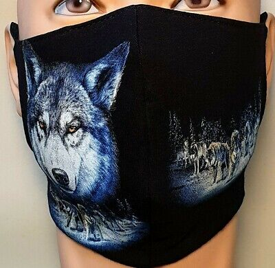 £4 • Buy Printed Face Mask 100% Cotton Washable Double Layer/Blue Wolf 2/Wolf Pack/