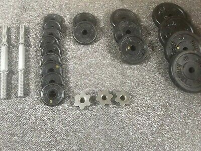 Amazing Set Of Cast Iron York Gym Weights With X2 Dumbell Bars • 260£
