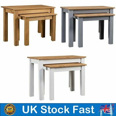 Nest Of Tables Set Of 2 Solid Pine Wood Nested Lamp Side End Table Coffee Tea • 53.59£
