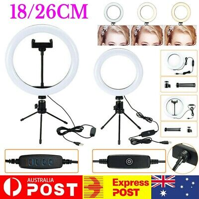 AU19.99 • Buy 18/26cm LED Selfie Ring Light With Stand Tripod Dimmable For Photo Studio Phone