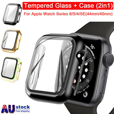AU8.99 • Buy IWatch 40/44mm Glass Screen Protector+Case Cover For Apple Watch Series 6 5 4 SE