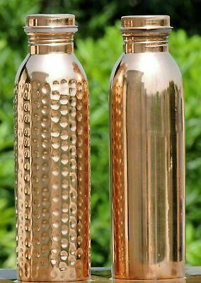Designer Copper Water Bottle For Ayurveda Health Benefits Spill Proof Many Sizes • 14.99£