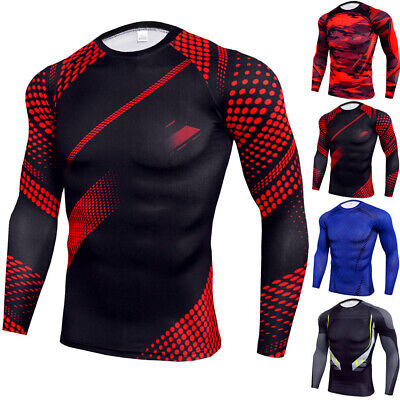 £11.75 • Buy Mens Body Armour Compression Tops Long Sleeve Base Layer Under Shirt Muscle Tee
