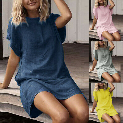 AU20.70 • Buy Women Summer Dress Beach Short Sleeve Dress O-Neck Long Shirts Linen SunDress AU
