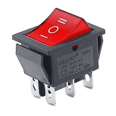 DPDT Double Pole Double Throw 6-Pin (ON-OFF-ON) 20amp Red LED Rocker Switch • 4.99£