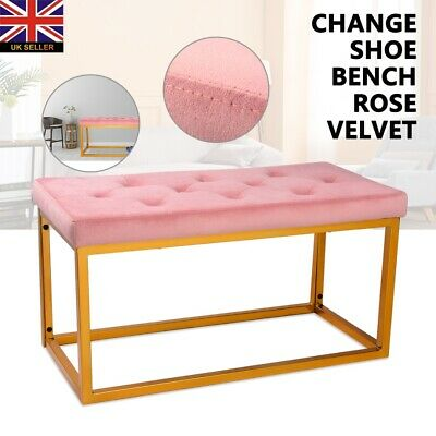 Velvet Storage Ottoman Bench Footrest With Legs/Feet Easy To Assemble Christmas • 39.99£