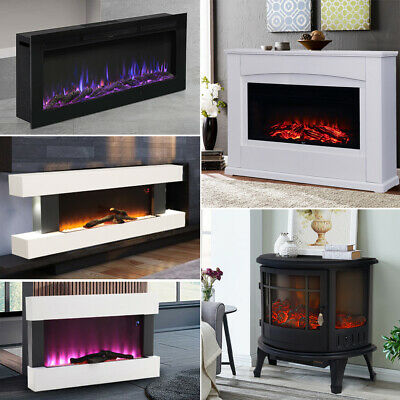 £209.95 • Buy 34  40 50 60  Fireplace Wall Mounted LED Flame White Mantel Electric Insert Fire