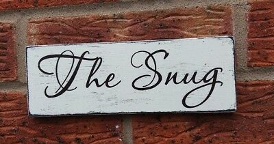 THE SNUG Shabby Vintage Chic Wooden Handmade Sign Plaque Cozy Room • 5.99£
