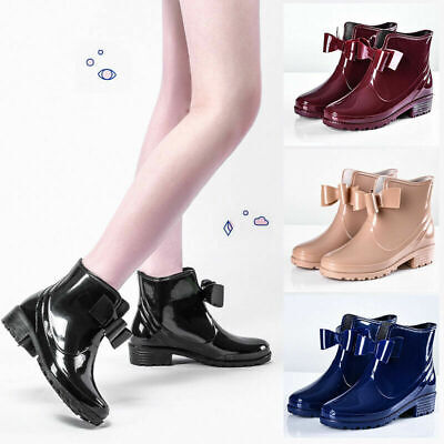 £12.99 • Buy Womens Bowknot Boots Ladies Ankle Winter Rain Flat Wellies Chelsea Shoes Size UK
