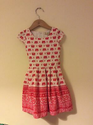 Yumi Girl Red & White Elephant Paisley Pattern Dress Age 3 Years • 13.50£