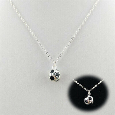 £2.60 • Buy NECKLACE FOOTBALL CHARM PENDANT JEWELLERY BOYS MENS Silver Color Chain