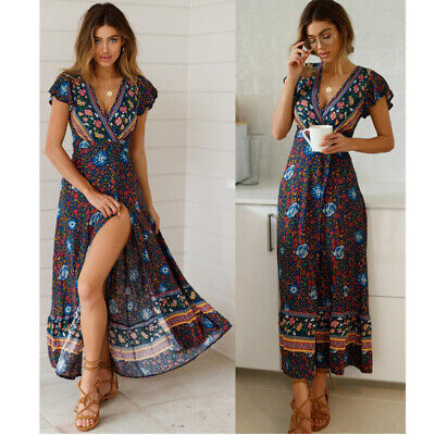 AU29 • Buy Summer Boho Floral Paisley Maxi Womens Dress Casual Holiday Beach Party Dresses