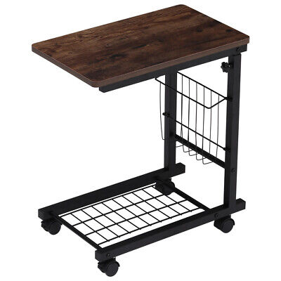 £19.95 • Buy Adjustable Sofa Side End Coffee Table C-Shaped Laptop Notebook Desk With Wheels