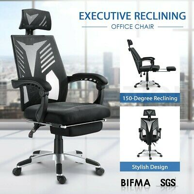 AU159.95 • Buy Executive High Back Mesh Office Computer Chair With Retractable Footrest Black