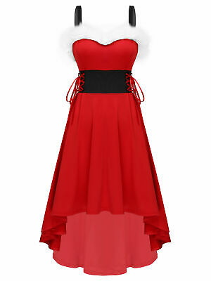 Women Christmas Santa Costume High-low Pleated Dress Lace Up Xmas Party Clubwear • 14.35£
