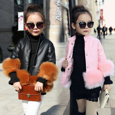 Kids Girls Baby PU Leather Fur Parka Thicken Coat Jacket Short Cool Outerwear • 19.88£