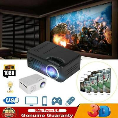 Full HD 1080p Multimedia Movie Projector Home Theater Cinema W/HDMI/AV/USB Ports • 22.89£