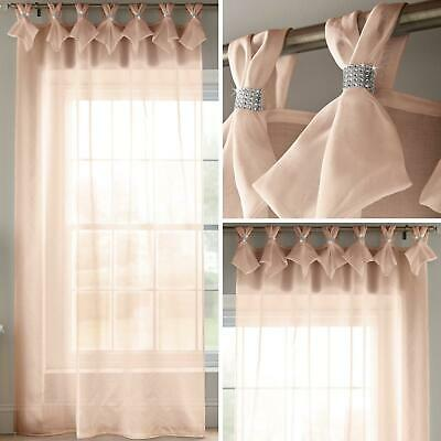 Blush Voile Curtain Pink Diamante Sparkle Tab Top Pleat Panels Bling Sheer Voile • 19.95£