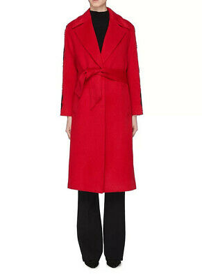 Self-Portrait Red Lace Trim Sleeve Sash Tie Coat/ M Uk12-14 Clearance • 135£