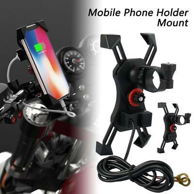 AU12.99 • Buy Universal Motorcycle Bike Mobile Phone Holder X Grip Clamp Mount USB Charge
