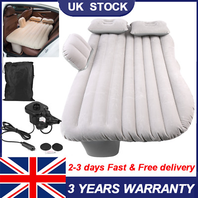 Inflatable Car Bed Back Seat Mattress Air Airbed Travel Sleep+Pump + 2 Pillow • 19.99£