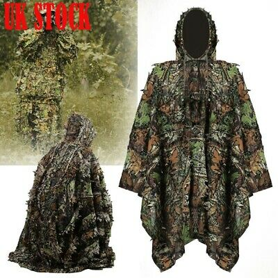 Poncho Adult 3D Gillie Suit Woodland Camouflage Hunting Cloak Tactical Leaves • 22.50£