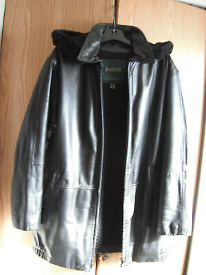 $ CDN45 • Buy DANIER LEATHER Women's Black Leather Jacket With Zip Out Lining Size Large Hood