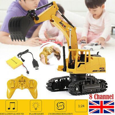 Yellow Remote Control Digger RC Toy Excavator Truck Construction Toys Kid Gift • 22.50£