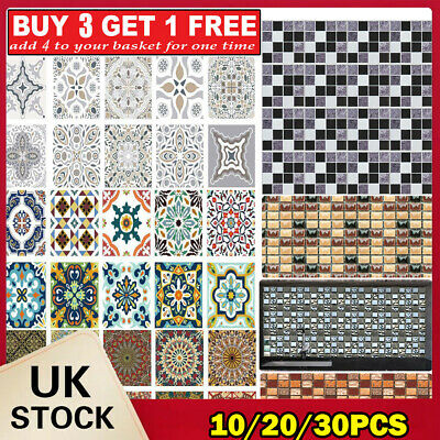 Mosaic Tile Stickers Stick On Bathroom Kitchen Home Wall Decals Self-adhesive • 4.99£