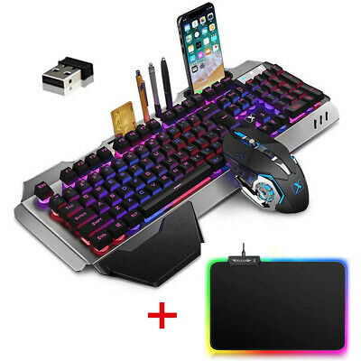 AU77.92 • Buy RGB LED Backlit PC Gaming Keyboard Mouse And RGB Mouse Pad Mechanical Feel Combo